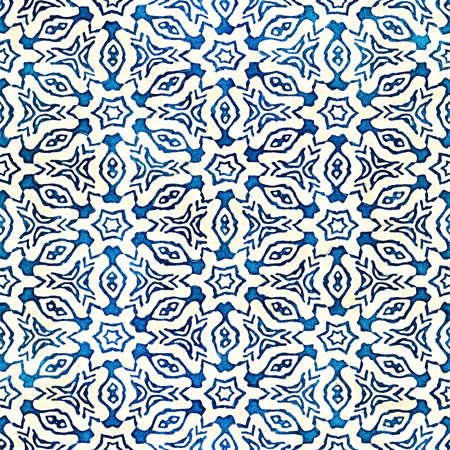 floral: Native batik watercolor artistic blue and white pattern with flowers or snowflakes. Ethnic boho style. Seamless hand drawn tribal square texture