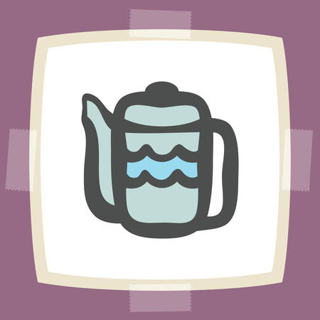 earthenware: Vector outline teapot icon on white sticker. Elements for mobile concepts and web apps. Modern infographic logo and pictogram.