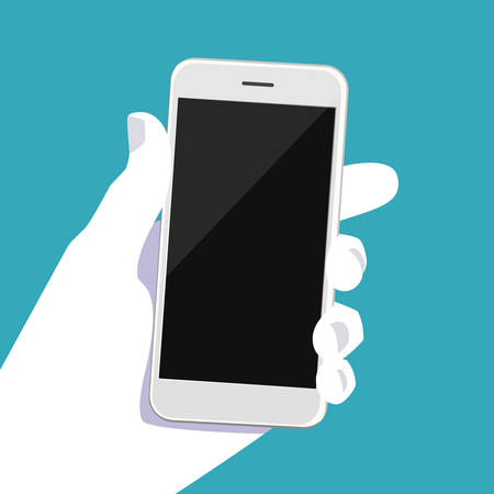 A human hand holds a smartphone. Vector illustration of a smartphone in a man hand. Modern phone in the palm of your hand. Infographics for flat design and presentations Illustration