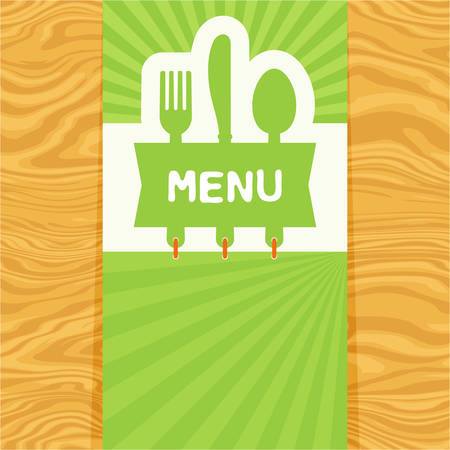 Page with fork, spoon and knife with tag for text on wood pattern for restaurant or cafe menu.