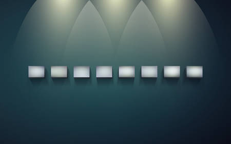 Eight block shelves on a dark wall with shadows and light for infographics. Small blocks for presentation and exhibition of objects. Row of empty shelves for displaying goods or services.