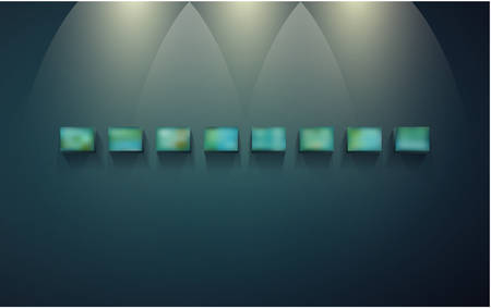 Eight block shelves on a dark wall with shadows and light for infographics.
