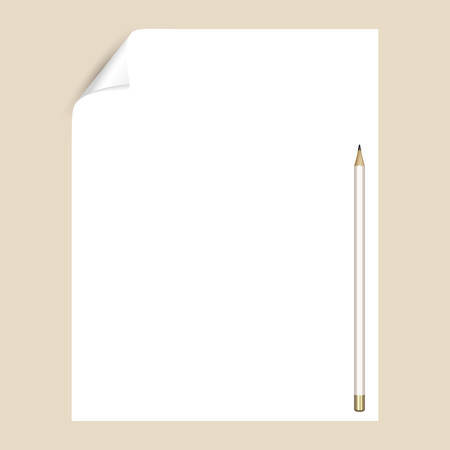 Graphite pencil on a white sheet of writing paper with a curved corner. An empty paper page for drawing or writing with a pencil. Mockup with stationery Illustration
