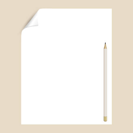 Graphite pencil on a white sheet of writing paper with a curved corner. An empty paper page for drawing or writing with a pencil. Mockup with stationery Иллюстрация