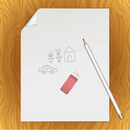Graphite pencil on a white sheet of writing paper with a curved corner. An paper page with hand drawn couple of man, woman, house and car with a pencil and eraser. Mockup with stationery Иллюстрация