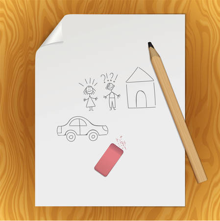 Graphite pencil on a white sheet of writing paper with a curved corner. An paper page with hand drawn couple of man, woman, house and car with a pencil and eraser. Mockup with stationery Illustration