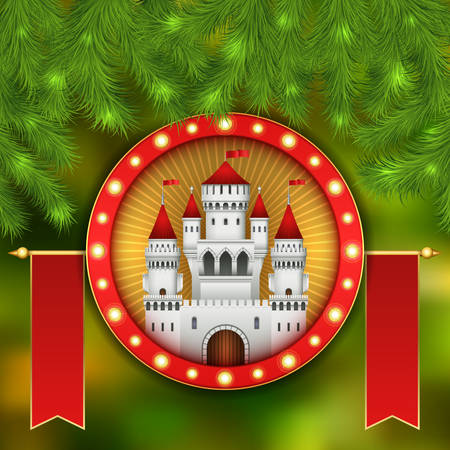 Christmas card with white castle, fireworks and branches of a Christmas tree. Christmas illustration with celebratory elements. White medieval castle with a red roof and red flags on the spiers
