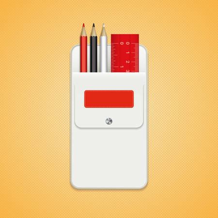 A set of colored pencils and ruler in a white pocket with a label and a button. Pencils for drawing red, black and white colors. School stationery for decoration