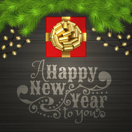 Christmas card with red square gift box with gold ribbon bow, garland and branches of a Christmas tree on a black wooden desk. Christmas illustration with Happy New Year text