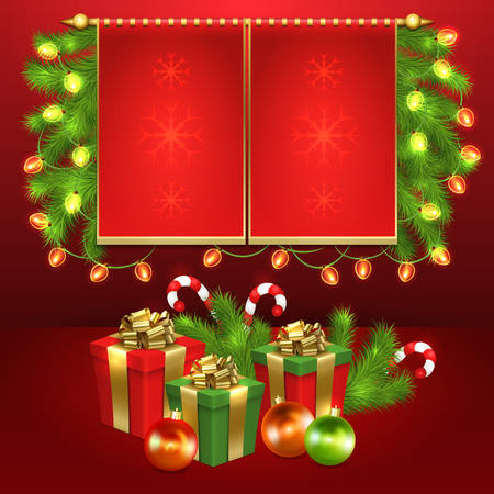 Christmas card design with gift boxes, christmas ornaments and space for text.