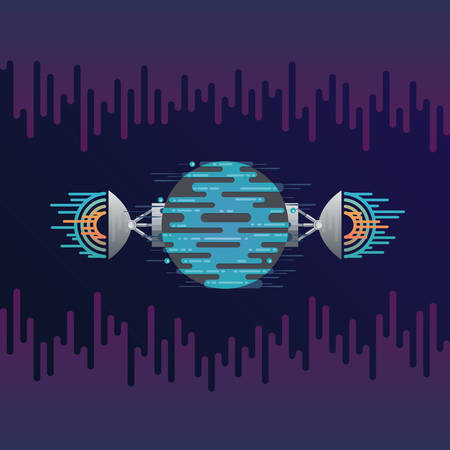 Vector illustration of sci-fi planet in space and radar dish station with sound or radio wave. Abstract digital blue planet icon with antena in flat style on background with sound wave equalizer. Illustration