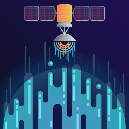 Vector illustration of sci-fi planet in space and solar cell satellite with radar dish station with sound or radio wave. Abstract digital space object icons in flat style.