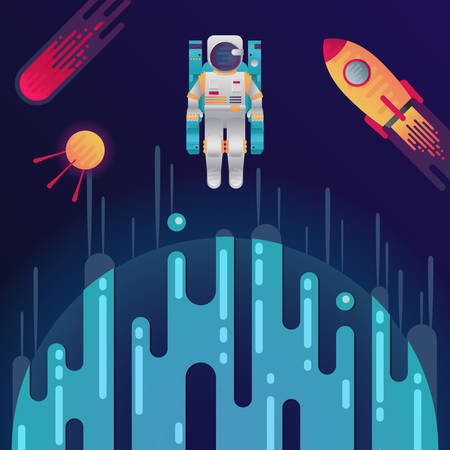Vector illustration of sci-fi planet, rocket, astronaut, space satellite and meteor or comet in space. Abstract cosmic objects around digital blue planet with dribbles in flat style Illustration
