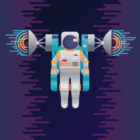 Vector illustration of sci-fi astronaut and radar dish station with sound or radio wave in space. Abstract digital cosmonaut icon with dribbles in flat style. Spaceman in galaxy on dark background.