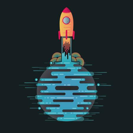Illustration vectorielle de la planète science-fiction dans l'espace et décoller la fusée. Fusée de départ abstraite sur l'icône de la planète bleue numérique avec des dribbles dans un style plat. Planète galaxie sur fond sombre. Banque d'images - 96971858