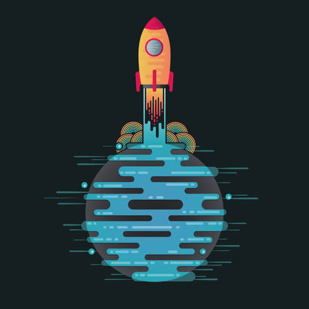 Vector illustration of sci-fi planet in space and take off rocket. Abstract starting rocket on digital blue planet icon with dribbles in flat style. Planet galaxy on dark background.