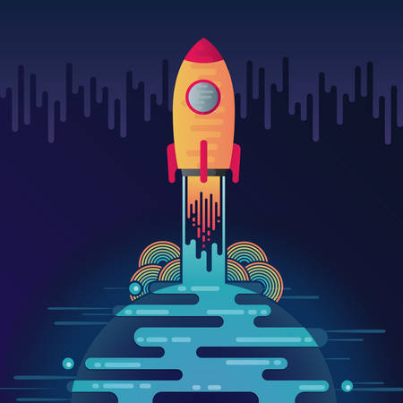 Vector illustration of space rocket launching in to space Vectores