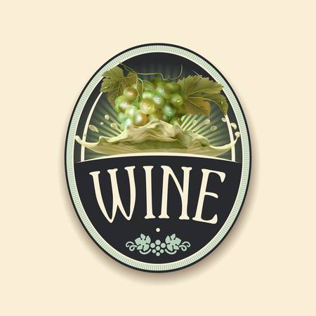 Vector vintage label with bunch of the fresh green grapes with the green leaves. Illustration