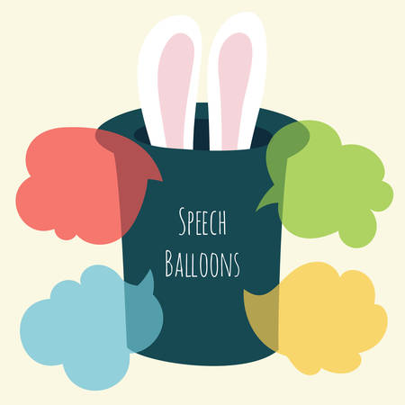 Vector set of flat colorful speech bubble with rabbit ears stick out of the magic hat. Balloons for text