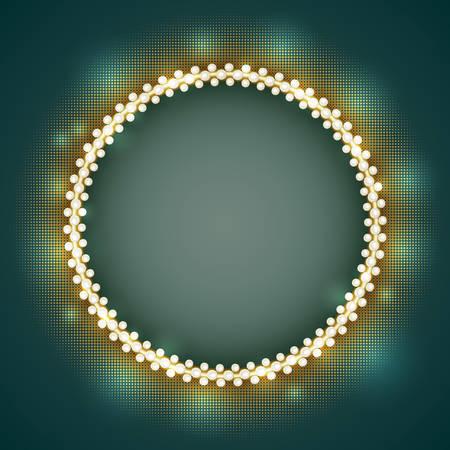 Vector vintage jewelry gold round frame with white pearls Illustration