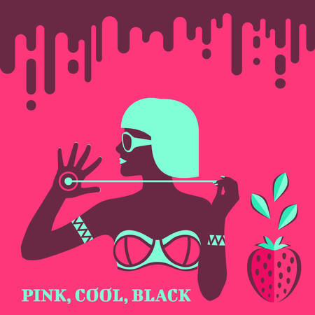 Hot glamour tan girl in bikini and sunglasses with bright hair and lips on background with chocolate drips, strawberry and mint leaves in flat pop art style. Summer time. Vector illustration
