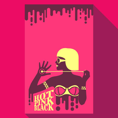 Hot fuse glamour girl in bikini and sunglasses with bright hair and lips in flat pop art style on pink background with chocolate drips. Summer time. Vector illustration