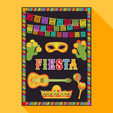 Vector fiesta postcard with icons of blossom cactus, sombrero, maraca, guitar, carnival mask and decorative text in ornate frame. Event vector illustration with mexican design elements