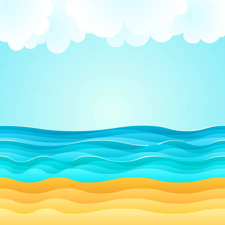 Summer cartoon of beach scene with sand beach, sea waves and fluffy clouds. Holiday vector illustration. Design for summer tourism