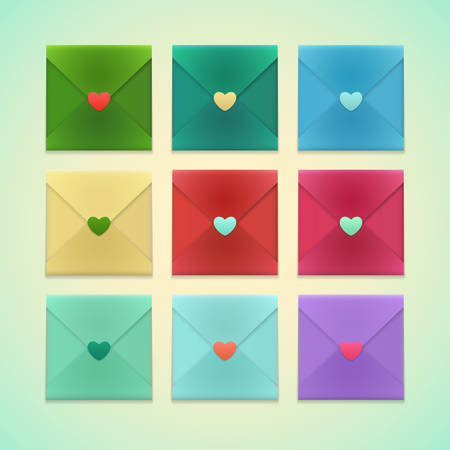 Colorful Set of Realistic Craft Envelopes with heart shaped stickers isolated on a background. Template for romantic love letter Иллюстрация