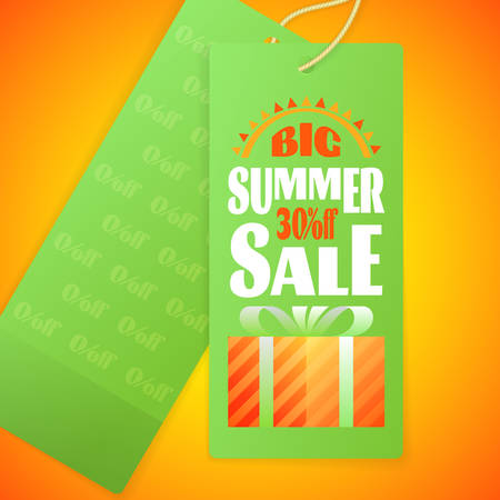 Summer Sale lettering Design Template with icon of abstract sun and Gift Box with Ribbon Bow on paper Label with rope. Typography Vector Background