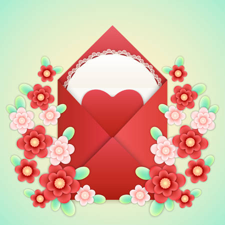 Realistic Craft red Envelope with red paper Heart, white napkin with lace frame and paper craft red and pink flowers isolated on a background. Template for romantic love letter