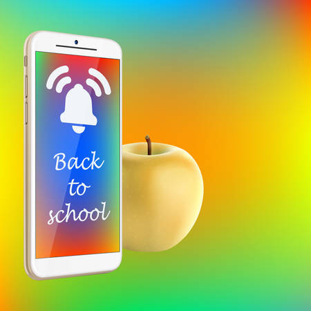 Back to school - vector illustration of smartphone and fresh yellow apple on vibrant gradient background. Screen of smartphone with bell icon and text