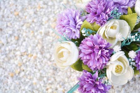 Close up of artificial rose flower bouquet. Silk flowers bunch 免版税图像