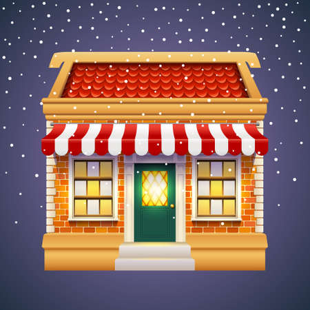 Christmas gift or presents shop or store with red roof, brick wall and tent. Winter xmas and New Year shopping family mall. Exterior view of Holiday market for celebration, gift sale building facade