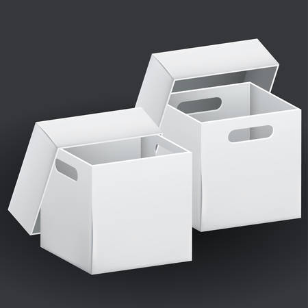 Empty white cardboard box packaging container. Tare for transportation, storage and keeping. Vector illustration of isolated on black background 3d realistic set of hard paper box.