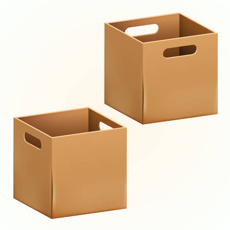 Empty brown cardboard box packaging container. Tare for transportation, storage and keeping. Vector illustration of isolated on white background 3d realistic set of hard paper box.