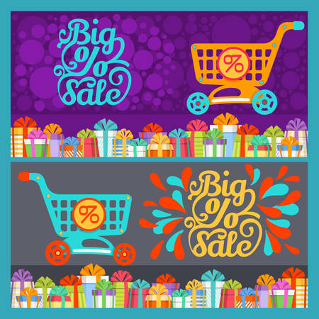 Colorful Gift Boxes with Ribbon Bow and Shopping Cart with Discount Sign on Background with Big Sale Text. Vector Isolated of Trolley and Christmas Gifts, Packed Surprises for New Year Holidays