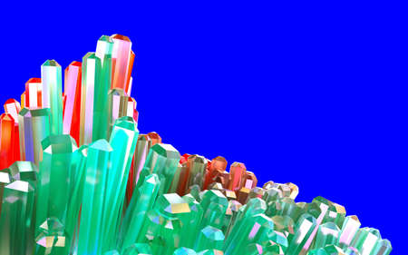 Clear colorful crystal cluster isolated on blue background. 3D illustration of green and red crystals