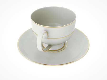Isolated elegant antique porcelain white tea cup on saucer with gold edging on white background. Vintage crockery. 3D Illustration