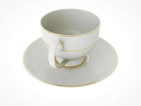 Isolated elegant antique porcelain white tea cup on saucer with gold edging on white background. Vintage crockery. 3D Illustration