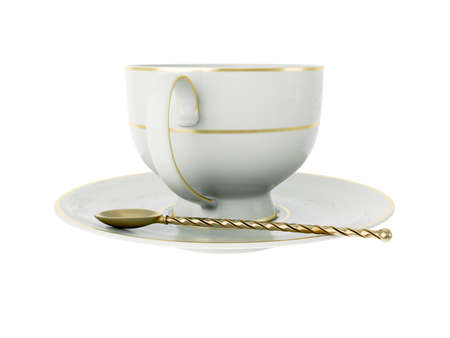 Isolated empty elegant antique porcelain white tea cup on saucer with gold edging and gold vintage tea spoon with twisted handle on white background. Vintage crockery. 3D Illustration