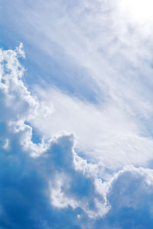 Blue sky background and fluffy white large cloud in sunny day 写真素材