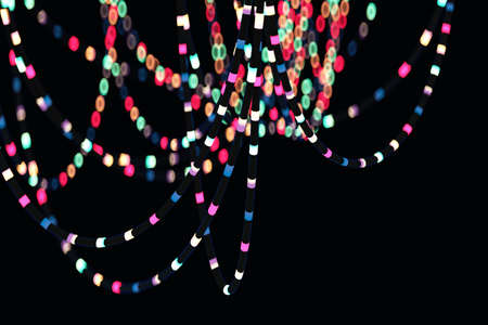 Blurred bokeh of party hanging lightining colorful wire garland. Isolated on black of festive night lights for New Year, Christmas or party luminous decoration. 3D Illustration Stock Photo