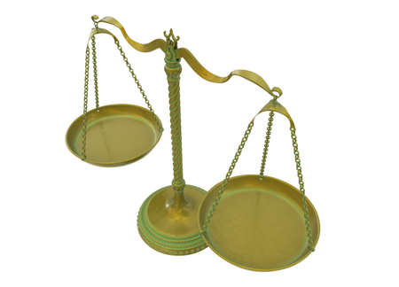 Antique gold brass balance scales isolated on white background. Gold bronze weight balance as Sign of justice, libra, lawyer, decision. 3D Illustration Zdjęcie Seryjne