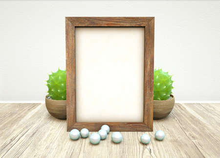 Mockup of empty wooden frame, green succulent plant in ceramic pot and jewelry pearls on wooden table against white concrete wall. 3D illustration of blank paper on frame for text with home plant