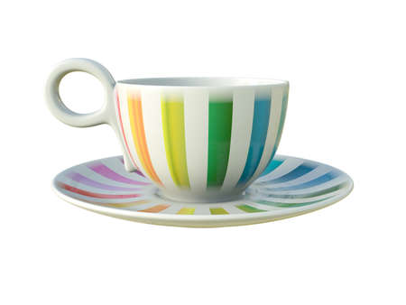 Empty porcelain white tea or coffee cup on saucer with colorful stripes isolated on white background. Modern crockery. 3D Illustration. Reklamní fotografie
