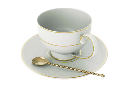 Isolated empty elegant antique porcelain white tea cup on saucer with gold edging and gold vintage tea spoon with twisted handle on white background. Vintage crockery. 3D Illustration Standard-Bild - 127840755