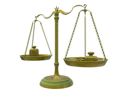 Antique gold brass balance scales with different weights isolated on white background. Gold bronze weight balance as Sign of justice, libra, lawyer, decision. 3D Illustration