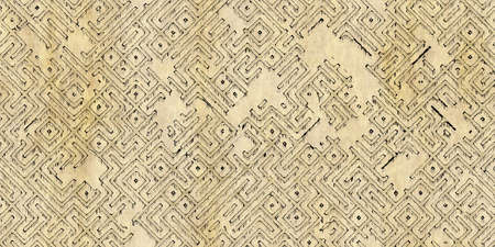 Seamless pattern of a monochrome antique maze scheme, painted on old paper or parchment. Vintage dungeon or labyrinth map as wallpaper or repeating background