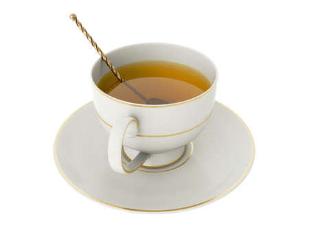 Isolated empty elegant antique porcelain white tea cup on saucer with gold edging, tea and gold vintage tea spoon with twisted handle on white background. Vintage crockery. 3D Illustration Stock Photo